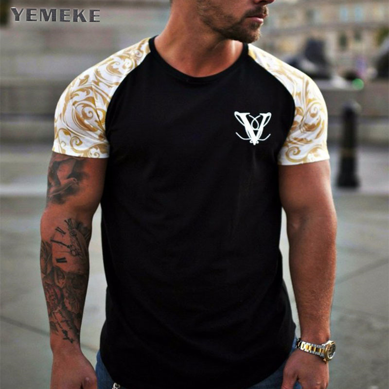 YEMEKE Brand T-Shirts 2018 Summer Short Sleeve O-neck Stripe Printed Loose Slim T shirt Mens Tops Tee (China)