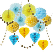 15pc Paper Decoration Set (Circle Garland,Honeycomb Balls,Paper Fans,Pom Poms) for Wedding Birthday Party Baby Showers Nursery(China)