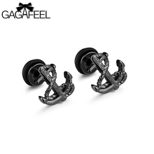 GAGAFEEL Vintage Anchor Stud Earring Men Earring For Women Jewelry Stainless Steel Silver Gold Black Color Christmas Gifts(China)