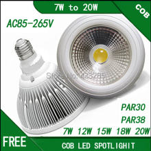 AC85-265V dimmable cob par30 par38 led lamp E27 7W 10W 12W 15W 18W 20WCOB led spotLight lamp warm white Neutral white Cool white