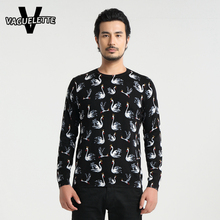 Luxury Black Pull Homme Knitted Swan Pattern Stylish Brand Clothing Business Skinny Plus Size Cotton Sweater Men M-4XL