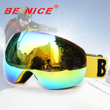 Benice New design Skiing Eyewear Anti-Fog Double Lens skiing goggle Unisex Multi-Color Snow Ski glasses UV400 snowboard goggles