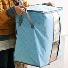 See-through Sweater Blanket Closet Transparent Windows Storage Bags Case Box Folding Bamboo Charcoal Clothes Quilt  blue/ green