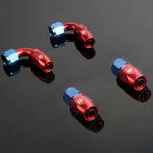 4 PCS AN6 6AN 0 Degree + 90 Degree Swivel Oil/Fuel/Air/Gas Line Fitting Hose End Adaptor Blue