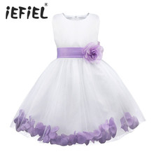 Kids vestido infantil Girls Flower Petals Dress Children Bridesmaid Toddler Elegant Dress Pageant Wedding Formal Party Dress