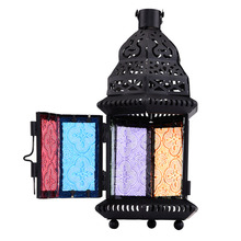 Color Glass Candle Holder Metal Vintage Moroccan Style Iron Lantern Candleholder For Wedding Home Decoration Matching Cup Candle