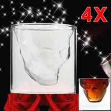 4X Crystal Skull Head Vodka Shot Whiskey Home Wine Beer Glasses Drinking Cup Clear wine cup champagne flutes A609 APJ
