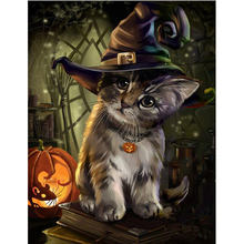 LI LOYE 5D DIY Diamond Painting Halloween cat Cross Stitch Diamond Embroidery Crystal Round Mosaic Pictures Needlework art RT772(China)