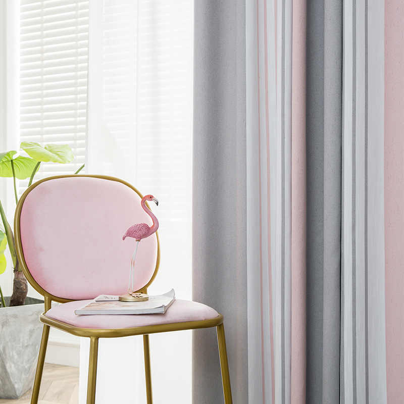 Nordic Gray-pink Collision Striped Jacquard Shading Curtains for Living Dining Room Bedroom.