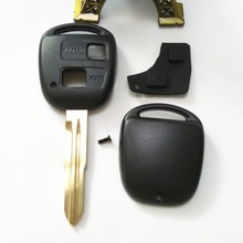 2 Button Remote Car Key Shell Case For Toyota Yaris With TOY41 Uncut Blade With Rubber Button Pad+Free delivery key keys leather