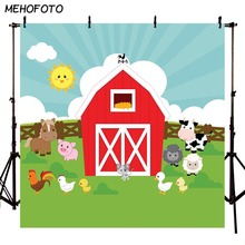 MEHOFOTO Red Barn Farm Photo Background For Pictures Barnyard Kids Cartoon Animal Backdrop Photography