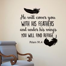Cute Bible Verse Feathers He Will Cover You Wall Art Sticker Room Decal Home Decoration Wall Mural Removable Room Vinyl Decor