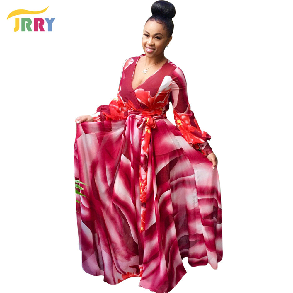 JRRY Casual Deep V Neck Sashes Print Women Maxi Dresses Long Sleeve Colorful Long Party Dress Vestidos
