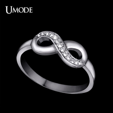 UMODE 8 Shaped Knot White Gold Color Top Grade Tiny Top Grade CZ Cubic Zirconia Infinite Ring For Women Best as Gift UR0142