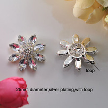 (S0148) 10pcs/lot, 25mm ,flower cluster rhinestone button with loop,silver plating,flower shape,clear crystals and acrylic beads(China)