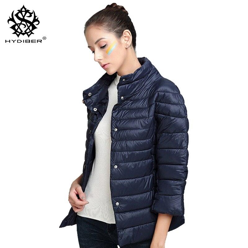 hydiber 2017 New Arrivial 3/4 Sleeve Women Fall Faux Cotton Padded Outwear Coats for Ladies Fashion Winter Sky Blue Jackets TopsÎäåæäà è àêñåññóàðû<br><br>