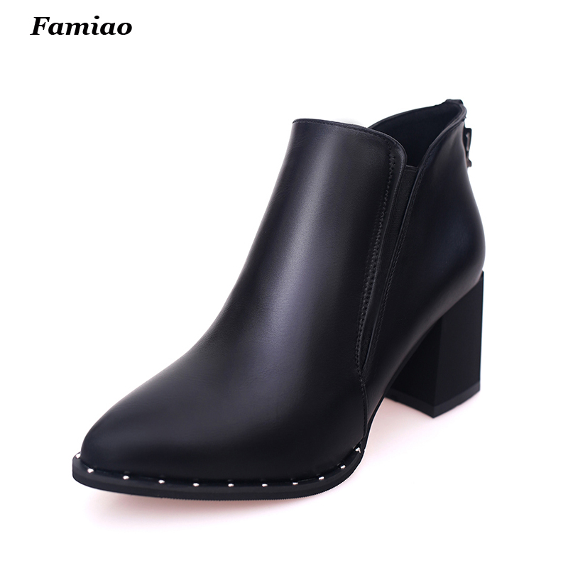 2017 Fashion PU Leather Fall Winter Boots for Women Pointed Ankle chelsea Boot Martin Shoes Woman<br><br>Aliexpress