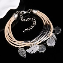 Hot Sale 2017 Fashion Leather Wrap Bracelet Leaf Birds Stainless Steel Multilayer Bracelets Bangles for Women/Men Free Shipping(China)