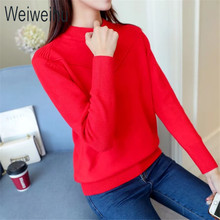Weiweihu Sweaters and Pullovers Women 2017 Casual Ladies Christmas Sweater Solid Knitted Turtleneck Female Jumpers Slim Fit Tops