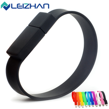 LEIZHAN USB Flash Drive Wrist Band U Stick 4GB 8GB 16GB 32GB 64G Pendrive USB 2.0 Pen Drive Colorful Memory Flash Drive U Disk