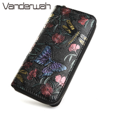 vintage dragonfly women wallets flowers prints female leather purse and wallet zipper bag fashion clutch long ladies coin purse