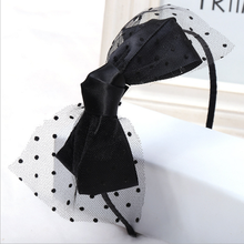 1Pc Women Girls Fashion Black Silk Elastic Big Bow Knot Hairbands Hairpins Headband Head Bands Turban Headwear Hair Accessories