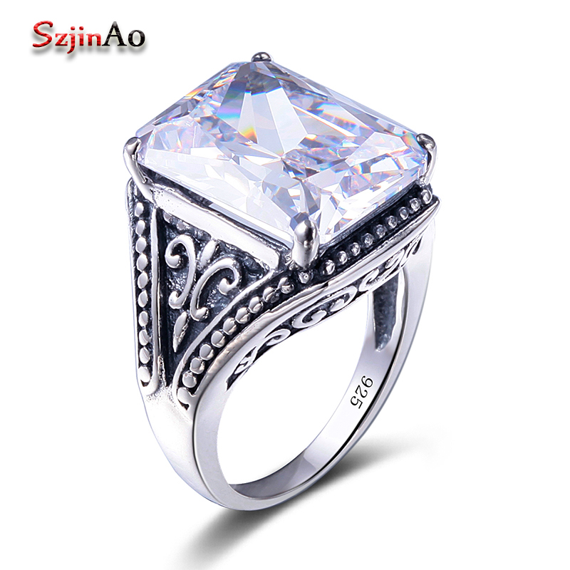 Szjinao Created Zircon White Ring Fashion Women Girls Men Rings Large jewelry Rings Russian cute lighter ring bijoux femme(China)
