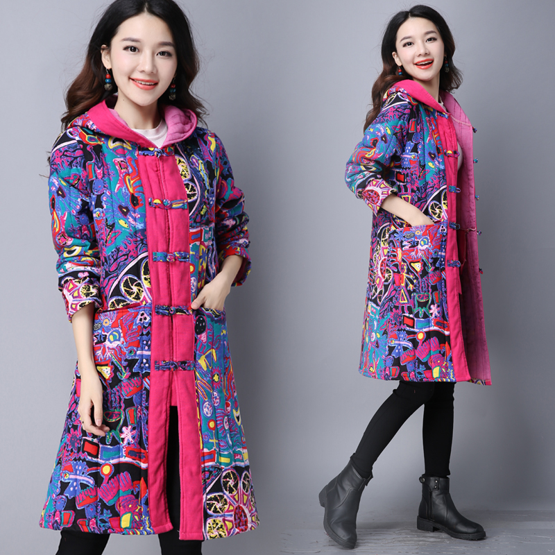 Chinese Style Coats 2017 New Women Hooded Winter Coat Warm Cotton Padded Jacket Ladies Floral Print Coats Female OutwearÎäåæäà è àêñåññóàðû<br><br>