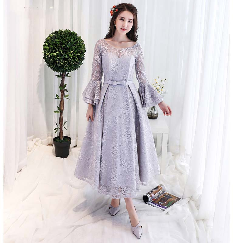 Vintage Style Long Sleeves Tea Length Lace Evening Gown Formal Party robe de soiree abendkleider(China)