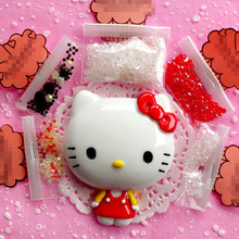 Bling Bling Big Kawaii Hello Kitty Cabochon with Rhinestones DIY Cell phone Deco Kit  for iphone 7 plus case for samusng case