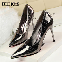 Brand Sexy Shoes Woman High Heels Pumps Heels 10CM Women Shoes 2017 Wedding Shoes Heels Black Red Gold Silver