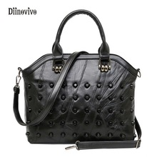 DIINOVIVO New Fashion Punk Style Rivet Ladie's Handbag Waterproof Casual Totes Luxury Leather Women Messenger Bags WHDV0171