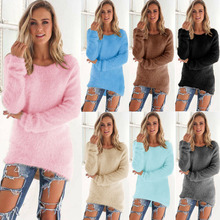 Women Long Plush Sweater O Neck Long Sleeve Cotton Autumn Women irregular Loose Sweater Thin Jumper Pullover Poncho Outwear Tops