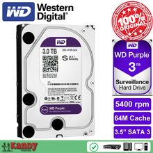 Western Digital WD Purple 3TB hdd NVR system sata 3.5 Surveillance internal hard disk security systems disque dur desktop server(China)