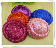 "Free shipping5.2""(13cm) 5color  mini top fascinator hats/ party hats/glitter hats,DIY hair accessories 24pieces/lot"