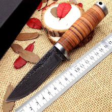 new jungle hunting knife hand-forged Damascus 58HRC High Carbon Steel Fixed Blade knives ganzo camping survival faca hand tools(China)