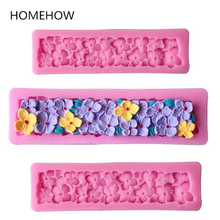 Newest Long Stripe Petal Flower Silicone Cake Mold 3D SugarCraft Fondant Bakiing Tools Silicone Mold Soap DIY Kitchen Stencils(China)