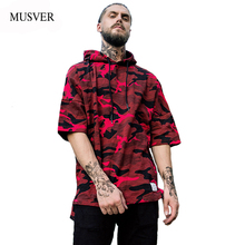 MUSVER Oversized Camouflage Hoodies Men 2017 Autumn Camo Half Sleeve Streetwear Cotton Hip Hop Mens Pullover Hooded Sweatshirts(China)