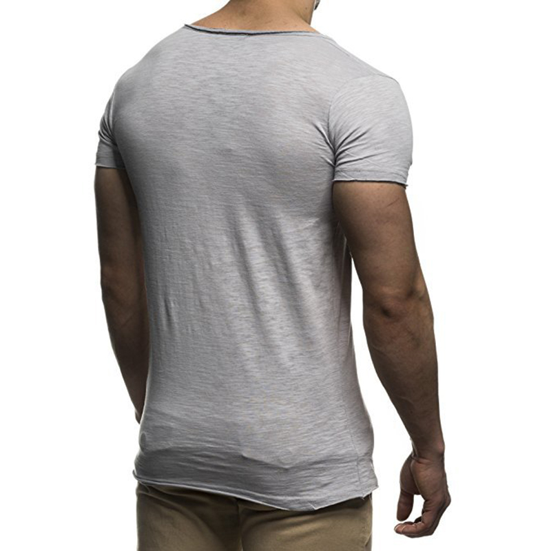 Men Basic T-Shirt Solid V Neck Slim Fit Male Fashion T Shirts Short Sleeve Tops Tees 2018 Brand Male T-shirts Hot Sale