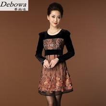 Debowa otoño madre dress 2017 nueva patchwork vestidos de manga larga del o-cuello mujeres dress estilo de china del bordado ancianos slim dress