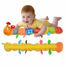 Sozzy Baby Mobile Toys Musical Caterpillar Rattle With Ring Bell Cartoon Animal Plush Toys Early Educational For 0-12 Baby(China)