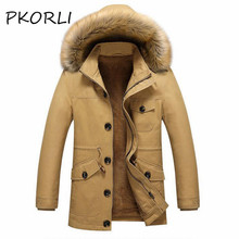 Pkorli Winter Jacket Men Slim Fit Trench Fur Collar Coat Mens Cotton Warm Long Male Casual Jacket Men'S Windbreaker Overcoat(China)