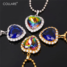 Collare Blue Jewelry Charm Reiki Pendant Valentine's Gift Heart Accessories Gold/Silver Color Titanic Necklace Women P169(China)