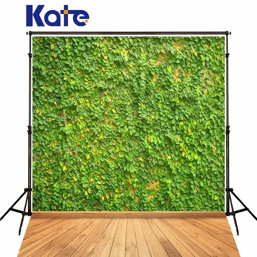 Kate Fond De Studio De Photographie Wood Floor Green Leaves Natural Scenery Newborn Green Photography Background<br>