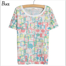 2017 Women Tshirt Harajuku loose Band 3D grid Print Cotton Casual Shirt For Top Tee Plus Size Hipster Latest Drop Ship