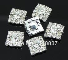 50pcs 12*12mm Square Rhinestone Embellishments Buttons Flatback Clear Rhinestone Cluster Buckle Free Shipping