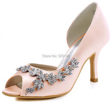 Woman Shoes HP1542 Pink Peep Toe Rhinestones Buckle High Heels Shoes Satin Bridesmaid Women's Wedding Bridal Pumps