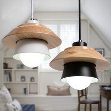 modern led pendant lights wood pulley retro restaurant bar coffee dining room LED hanging light lampe deco industrie lamp