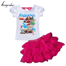 keaiyouhuo Children Clothes 2017 Summer Girls Clothes Set Moana T-shirt+Skirt Kids Girls Sport Suit Toddler Girls Clothing Sets(China)