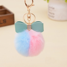 Lovely Fluffy Rabbit Ear Fur Ball Key Chain Bow-knot Pompom Artificial Rabbit Fur Keychain Double Color Women Car Bag Key Ring